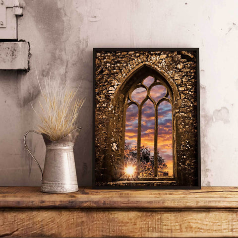 Summer Sunrise at Clare Abbey, Ireland, Irish Inspirational Art Poster Poster Moods of Ireland