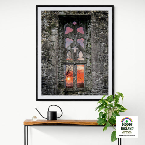 Image of Print - Clare Abbey Window at Sunrise, Ennis, County Clare - James A. Truett - Moods of Ireland - Irish Art