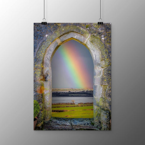 Image of Poster Print - Spring Rainbow over Ireland's Shannon Estuary Poster Print Moods of Ireland