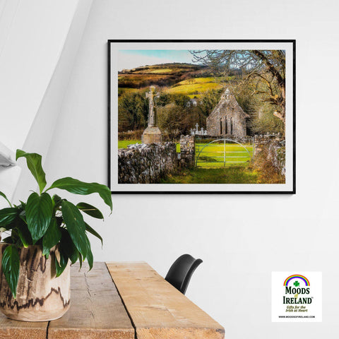 Print - 12th Century High Cross and Church Ruins in Ireland's County Clare Poster Print Moods of Ireland