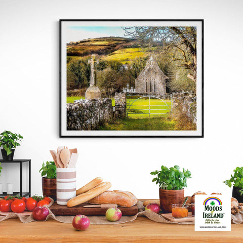 Image of Print - 12th Century High Cross and Church Ruins in Ireland's County Clare - James A. Truett - Moods of Ireland - Irish Art