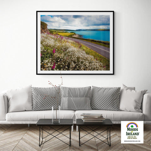 Print - Field of blooms along Shannon Estuary, County Clare Poster Print Moods of Ireland