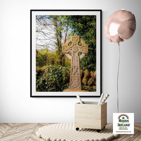 Print - Celtic Cross at Dysert O'Dea Graveyard, County Clare Poster Print Moods of Ireland