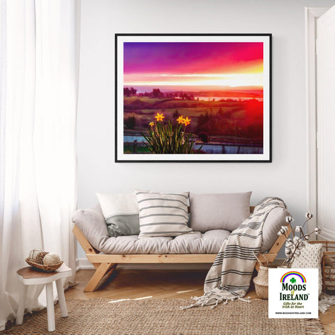 Print - Daffodil Sunrise in Crovraghan, County Clare, Ireland - James A. Truett - Moods of Ireland - Irish Art