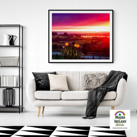 Image of Print - Daffodil Sunrise in Crovraghan, County Clare, Ireland - James A. Truett - Moods of Ireland - Irish Art