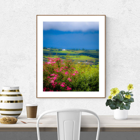 Image of Poster Print - Clouds over Green Hills of County Clare Poster Print Moods of Ireland