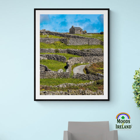 Image of Print - Stone Cottage on a Hill, Inisheer, Aran Islands, County Galway - James A. Truett - Moods of Ireland - Irish Art