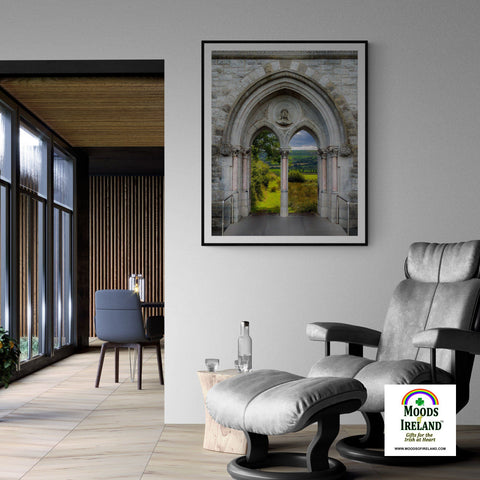 Print - County Clare meadow through Gothic Revival Church Arches - James A. Truett - Moods of Ireland - Irish Art