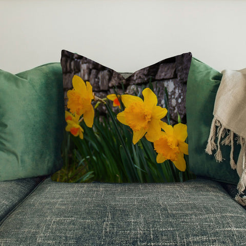 Image of Pillow Cover - Irish Spring Daffodils and Rock Wall in County Clare Pillow Cover Moods of Ireland