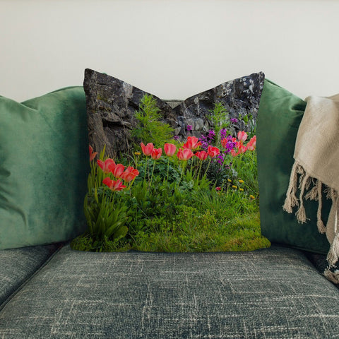 Image of Pillow Cover - Spring Tulips and Stone Wall in County Galway Pillow Cover Moods of Ireland