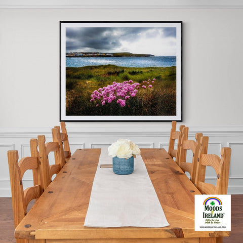 Image of Print - Sea Pinks on Kilkee Bay, County Clare - James A. Truett - Moods of Ireland - Irish Art