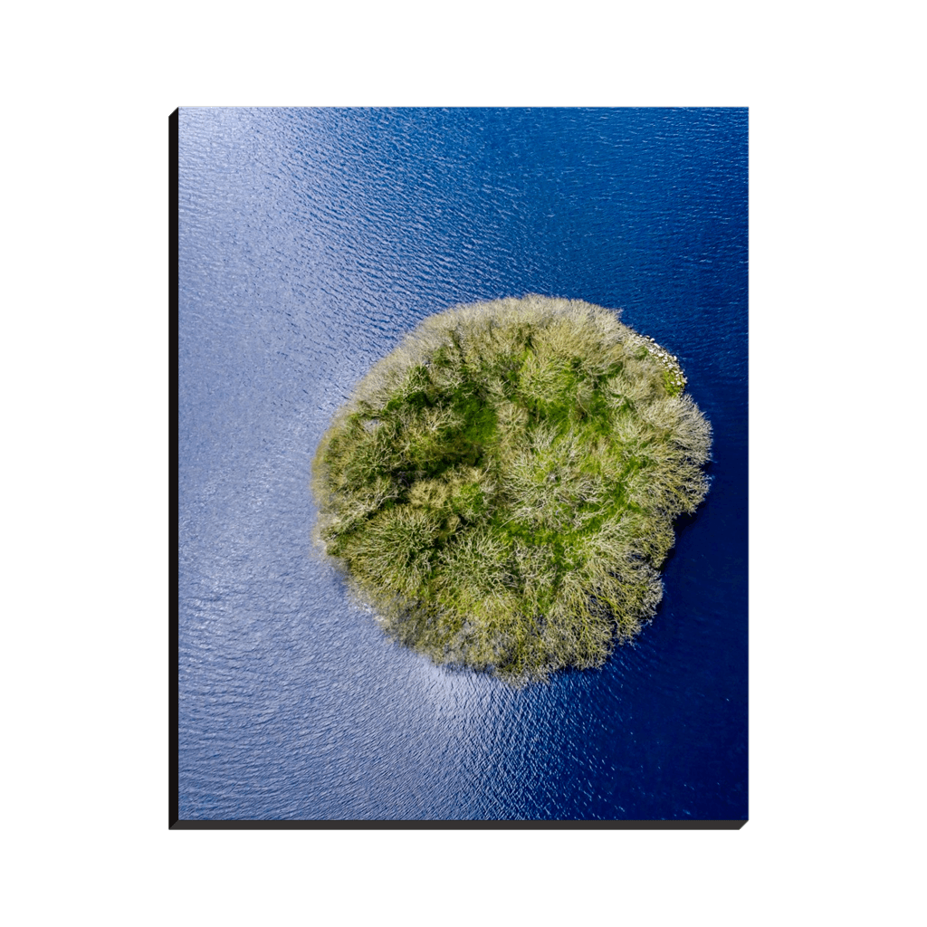 Canvas Wraps - Knockalough Crannog from Above, County Clare, Ireland Canvas Wrap Moods of Ireland