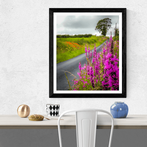 Image of Poster Print - Wildflower-lined Irish Country Road Poster Print Moods of Ireland
