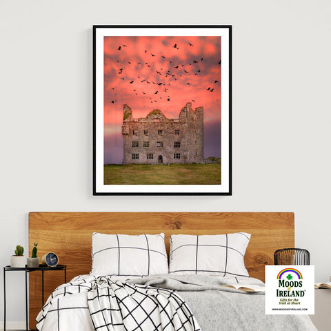 Image of Print - Birds over Leamaneh Castle, County Clare - James A. Truett - Moods of Ireland - Irish Art