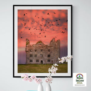 Print - Birds over Leamaneh Castle, County Clare - James A. Truett - Moods of Ireland - Irish Art
