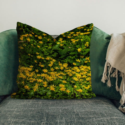 Image of Pillow Cover - Meadow of Lesser Celandine Flowers in County Galway Pillow Cover Moods of Ireland