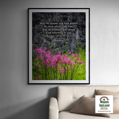 Print - Irish Blessing and Ragged Robin Wildflowers Poster Print Moods of Ireland