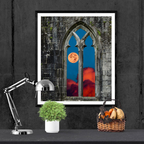 Print - Moonrise over Quin Abbey, County Clare Poster Print Moods of Ireland