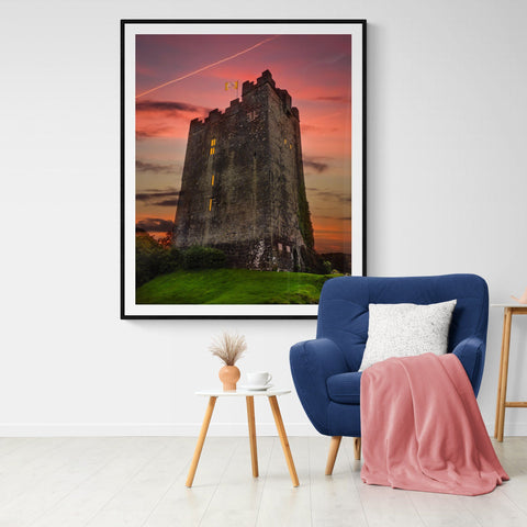 Image of Print - Sunset over Dysert O'Dea Castle, County Clare - James A. Truett - Moods of Ireland - Irish Art