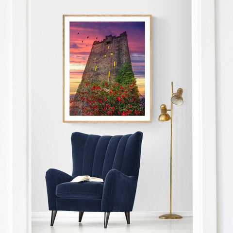 Image of Print - Fuchsia Sunset at Dysert O'Dea Castle Poster Print Moods of Ireland