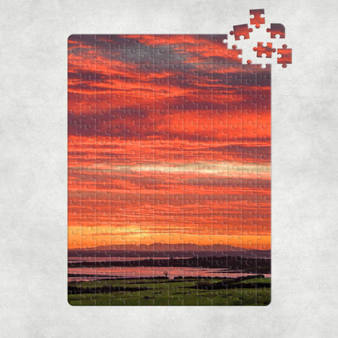 Puzzle - Firey Sky over Shannon Estuary, County Clare Puzzle Moods of Ireland