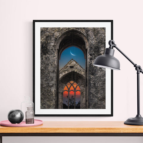 Image of Print - Crescent Moon over Quin Abbey, County Clare - James A. Truett - Moods of Ireland - Irish Art