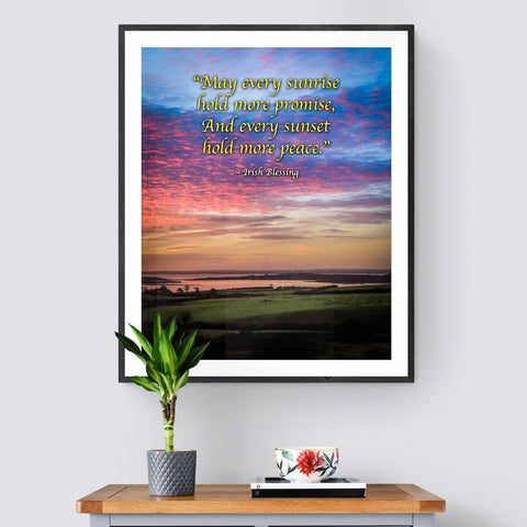 Irish Blessing Print - May Every Sunrise Hold More Promise Irish Blessing Poster Print Moods of Ireland 20x24 inch
