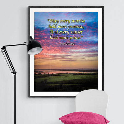 Irish Blessing Print - May Every Sunrise Hold More Promise Irish Blessing Poster Print Moods of Ireland 16x20 inch