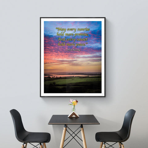 Irish Blessing Print - May Every Sunrise Hold More Promise Irish Blessing Poster Print Moods of Ireland
