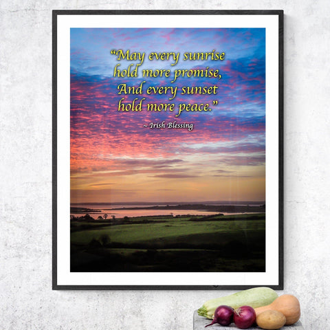 Irish Blessing Print - May Every Sunrise Hold More Promise Irish Blessing Poster Print Moods of Ireland 11x14 inch