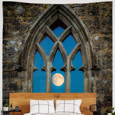 Image of Tapestry - Moon through Gothic Arch at Kilmacduagh, County Galway - James A. Truett - Moods of Ireland - Irish Art