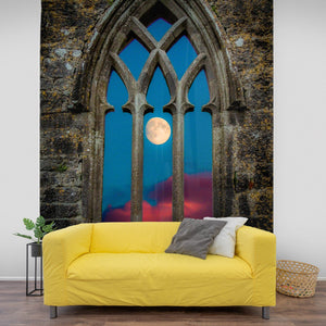 Tapestry - Moon through Gothic Arch at Kilmacduagh, County Galway - James A. Truett - Moods of Ireland - Irish Art