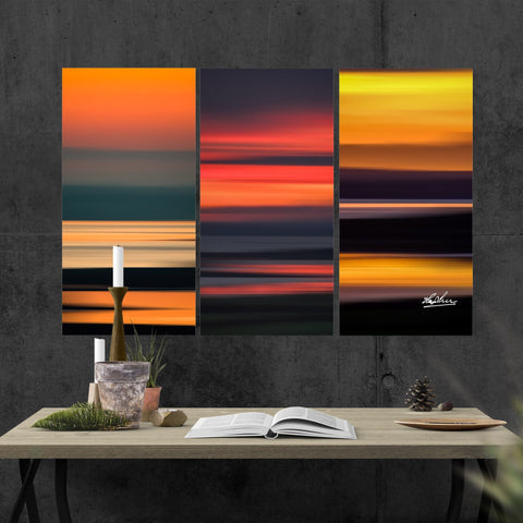 Image of Triptych Canvas - Abstract Irish Sunrises Canvas Wall Art Set 3 teelaunch