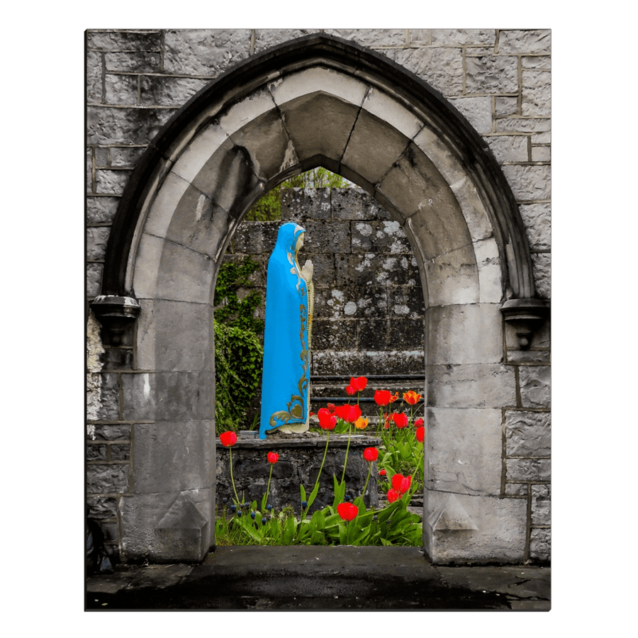 Canvas Wraps - Virgin Mary and Tulips through St. Augustine Church Arch, Ireland Canvas Wrap Moods of Ireland