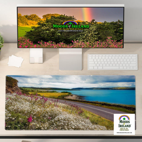 Image of Desk Mat - Field of Blooms along Shannon Estuary, County Clare - James A. Truett - Moods of Ireland - Irish Art