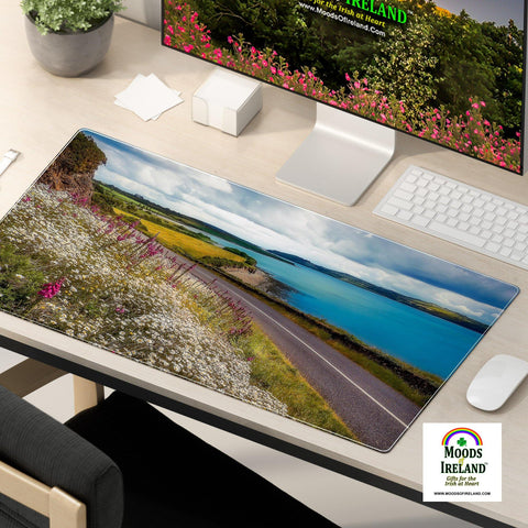 Desk Mat - Field of Blooms along Shannon Estuary, County Clare - James A. Truett - Moods of Ireland - Irish Art