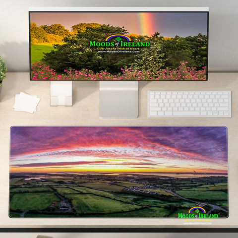 Image of Desk Mat - Sunrise Panorama over Kildysart, County Clare - James A. Truett - Moods of Ireland - Irish Art