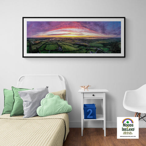 Image of Panorama Print - Autumn Sunrise over Kildysart, County Clare Panorama Print Moods of Ireland