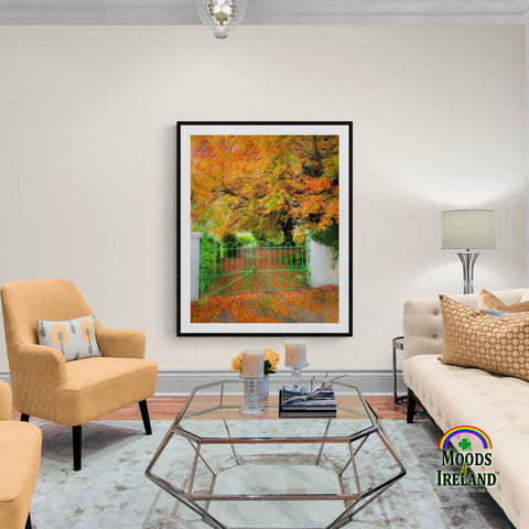 Image of Print - Green Gate in Autumn, County Clare - James A. Truett - Moods of Ireland - Irish Art