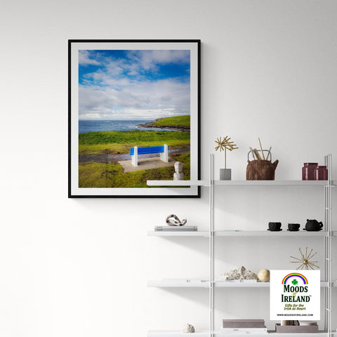 Image of Print - Bench on Kilkee Bay, Wild Atlantic Way, Ireland - James A. Truett - Moods of Ireland - Irish Art