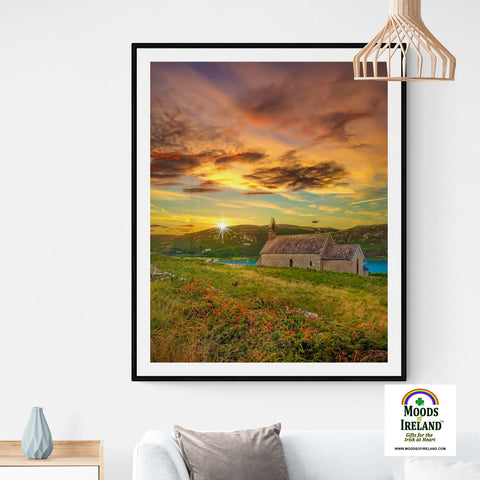Image of Print - Church of St. Brendan the Navigator at Sunset, Crookhaven, County Cork - James A. Truett - Moods of Ireland - Irish Art