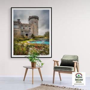 Print - Side entrance and Garden, Dromoland Castle, County Clare - James A. Truett - Moods of Ireland - Irish Art