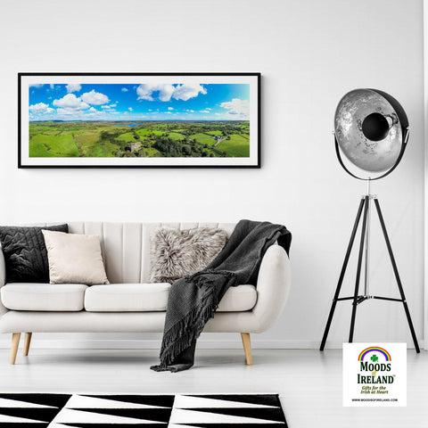 Image of Panorama Print - Dysert O'Dea Castle and Ballycullinan Lough, County Clare - James A. Truett - Moods of Ireland - Irish Art