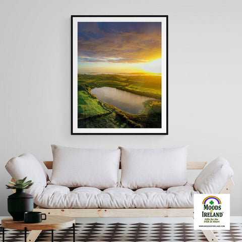 Image of Print - Autumn Sunrise over Ballylean Lake, Kildysart, County Clare - James A. Truett - Moods of Ireland - Irish Art