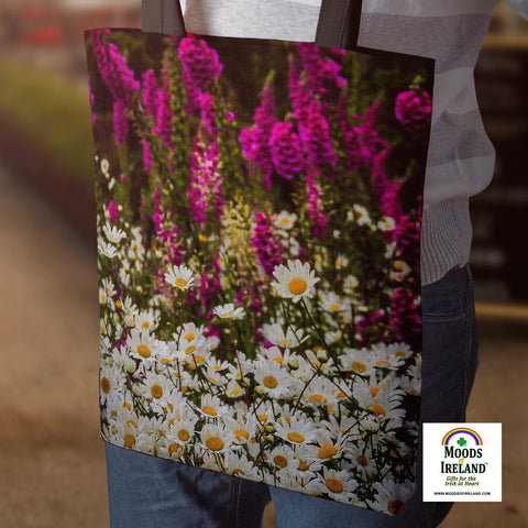 Tote Bags - Wild Irish Daisies and Foxglove Tote Bag Moods of Ireland