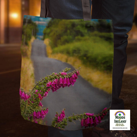 Tote Bags - Foxglove on the Road to Lissycasey, County Clare Tote Bag Moods of Ireland