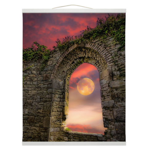 Wall Hanging - Wolf Moon at Sunrise over County Clare Wall Hanging Moods of Ireland 16x20 inch White