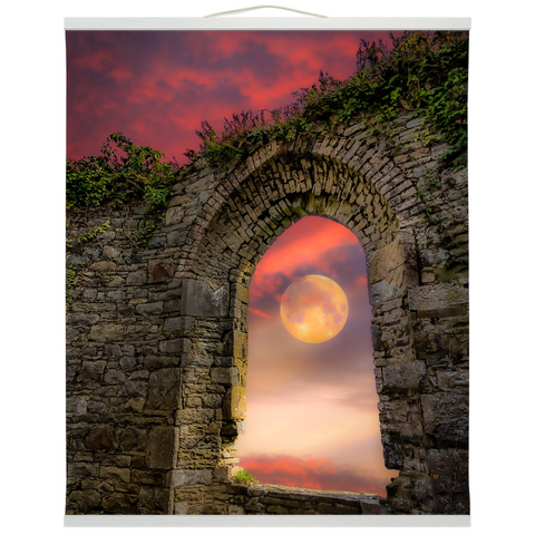 Wall Hanging - Wolf Moon at Sunrise over County Clare Wall Hanging Moods of Ireland 20x24 inch White