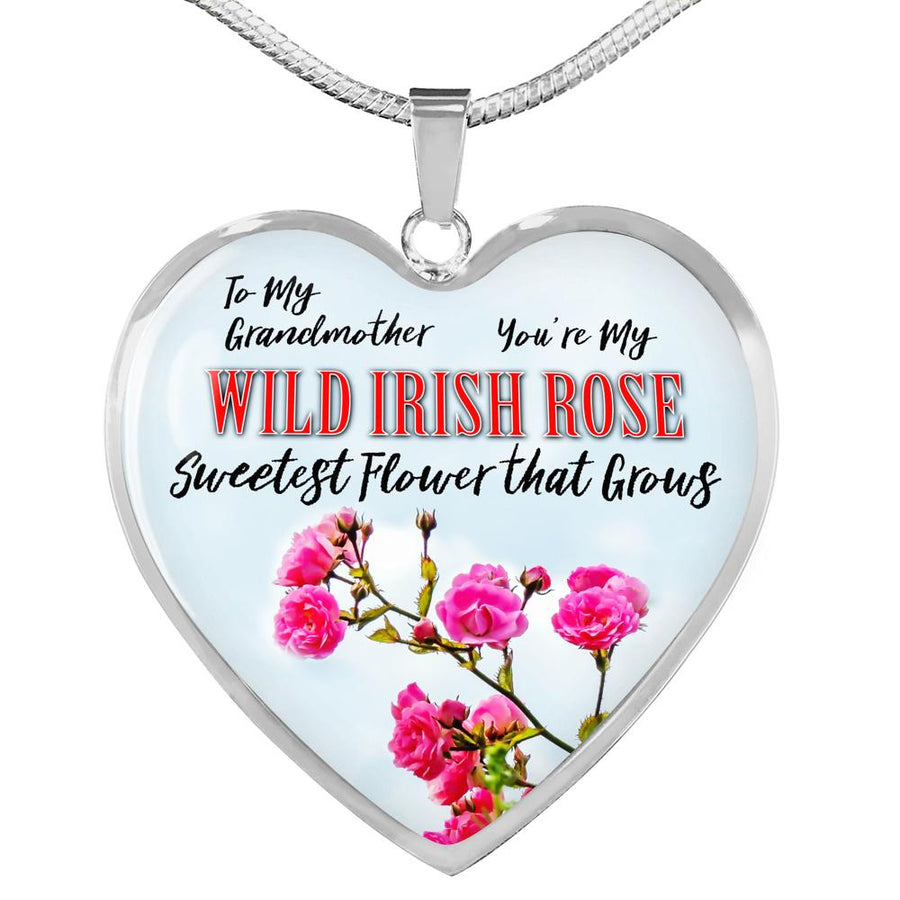 To My Grandmother - Wild Irish Rose Heart Necklace Jewelry ShineOn Fulfillment Luxury Necklace (Silver) No