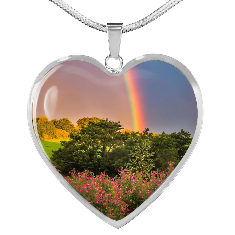 Heart Necklace Pendant - Irish Rainbow over Wildflowers, County Clare Jewelry ShineOn Fulfillment Luxury Necklace (Silver) No